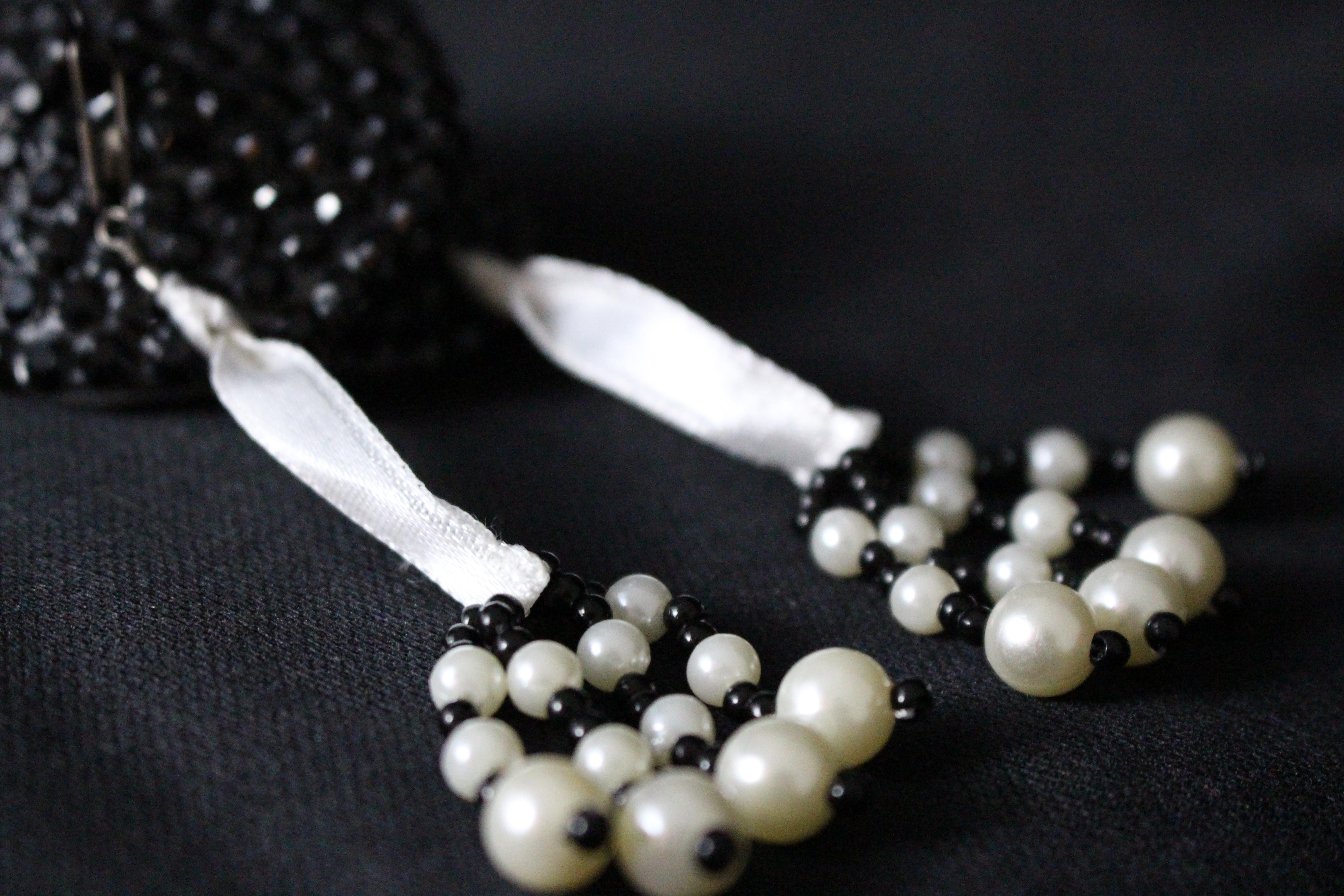 Black-White Beaded Tassels