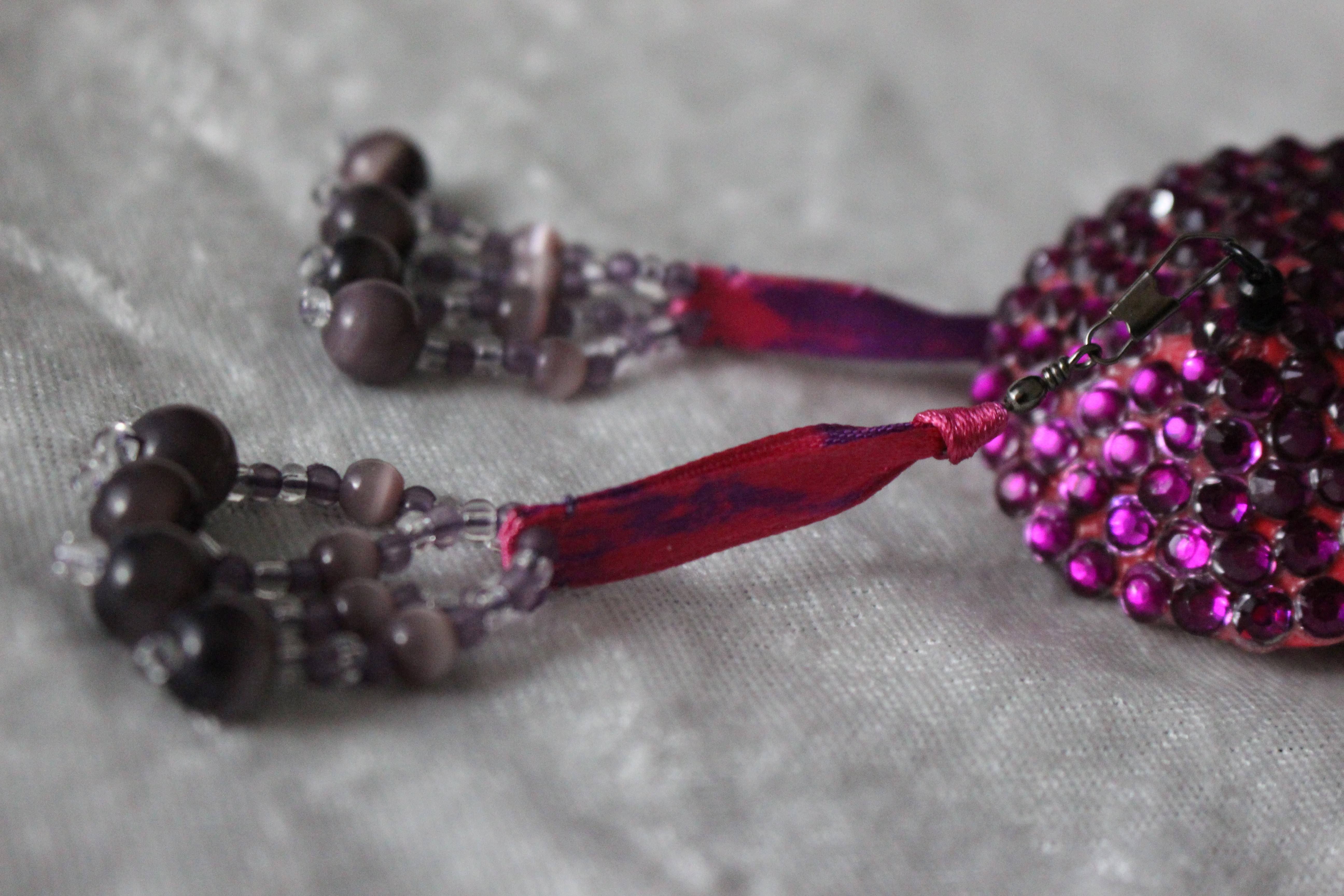 Fuchsia-Purple Beaded Tassels (Irregular)