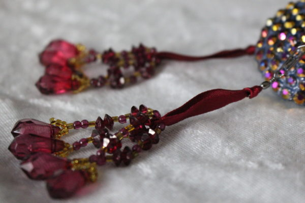 Deep Red-Gold Beaded Tassels