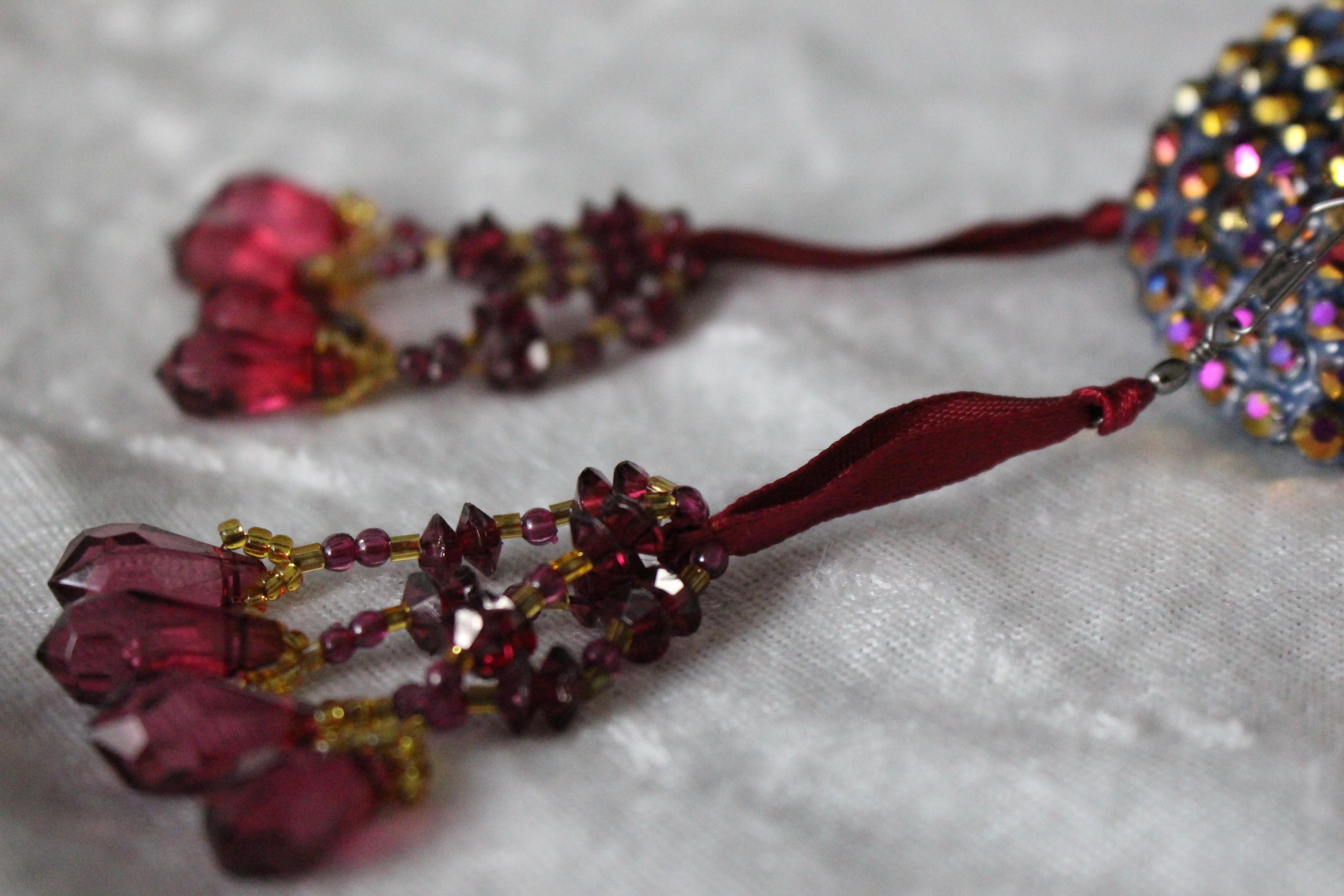 Deep Red-Gold Beaded Tassels