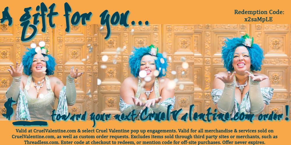 CruelValentine.com Gift Certificate (Sample Image)
